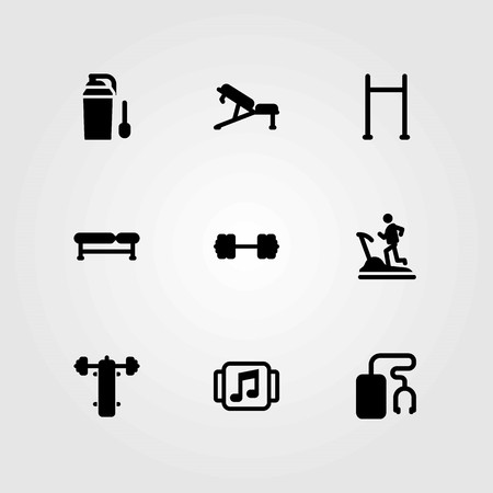 Fitness vector icons set. bench press, treadmill and pull up bar
