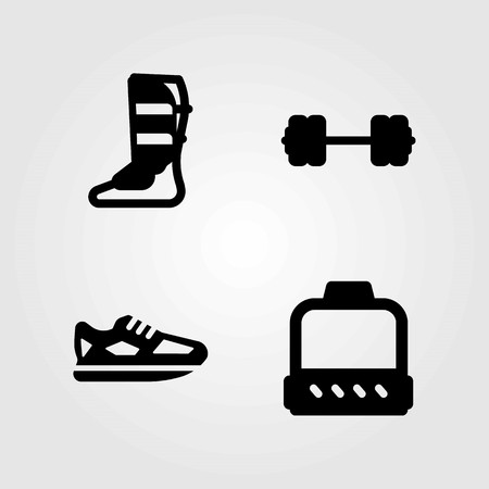 Fitness vector icons set. running, dumbbell and shoes