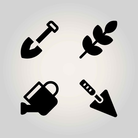 Agriculture vector icon set. watering can, shovel, trowel and wheat