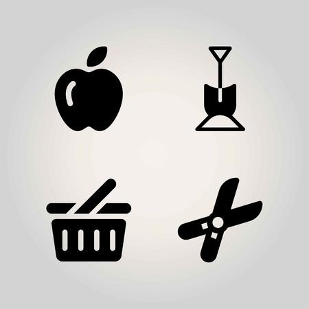 Boerderij vector icon set. snoeischaar, winkelmandje, schop en appel