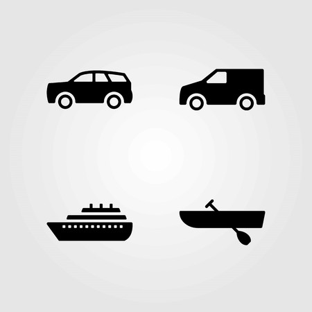 Transport vector icons set. car, boat and rowing