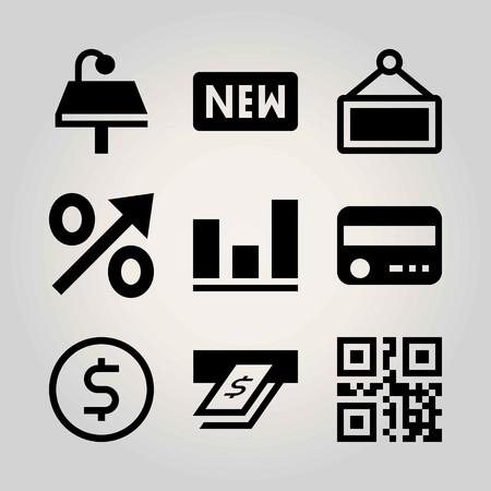 Technology vector icon set. percentage, atm, sign and table