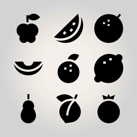 Fruits vector icon set. watermelon, apple, pomegranate and melon