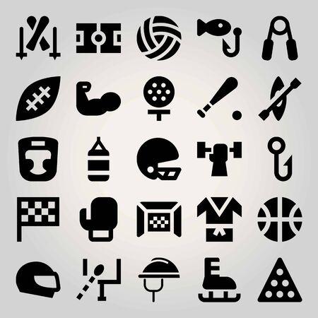 Sport vector icon set. fishing, golf, helmet and flag