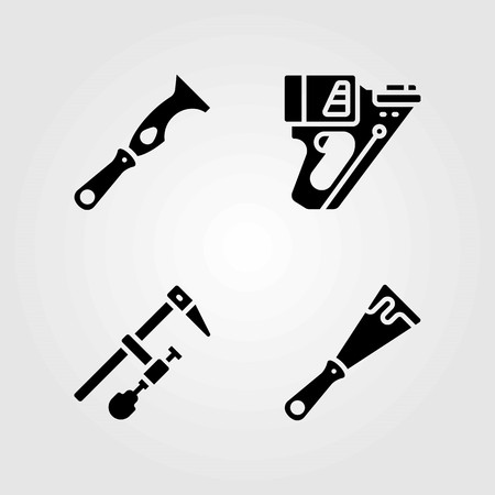 Tools vector icons set. scraper, clamp and nail gun