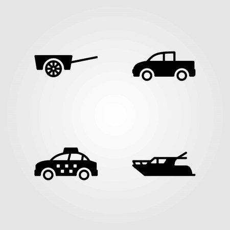 Transport vector icons set. pickup, cart and truck
