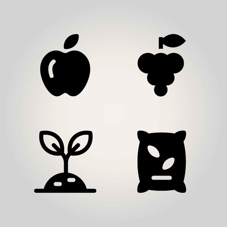 Agriculture vector icon set. apple, grape, sprout and fertilizer