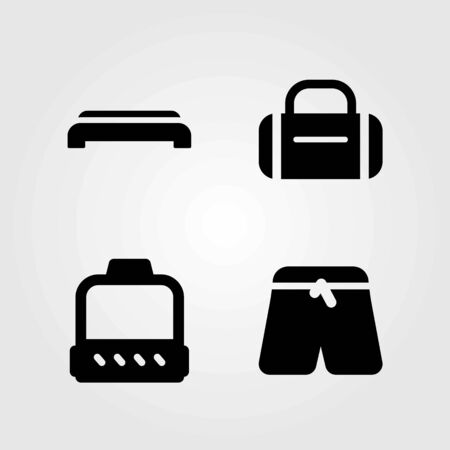 Fitness vector icons set. pulley, hammed and step