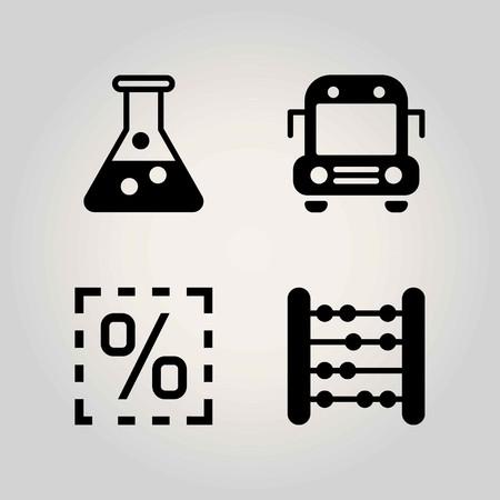 School vector icon set. percentage, school bus and abacus