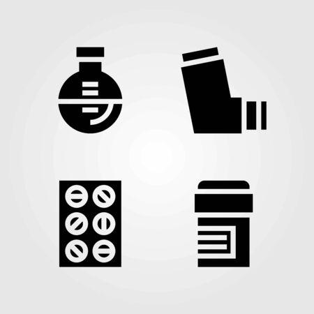Medische vector iconen set. kolf, inhalator en pillen