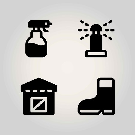 Agriculture vector icon set. boot, sprinkle, warehouse and sprayer