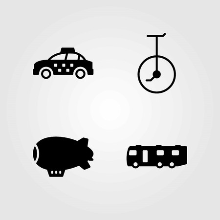 Transport vector icons set. taxi, unicycle and zeppelin