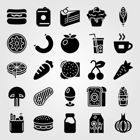 Food and drinks vector icon set. Banana milk, carrot, pizza and burrito. Çizim