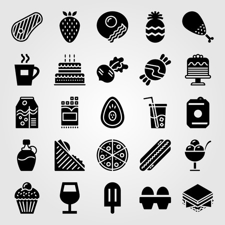 Food And Drinks vector icon set includes birthday cake, coffee cup, juice and chicken leg. Çizim