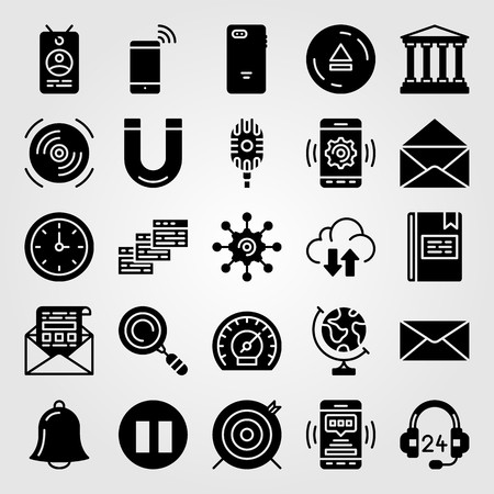 Essentials icon set vector. letter, magnet, alarm and eject.