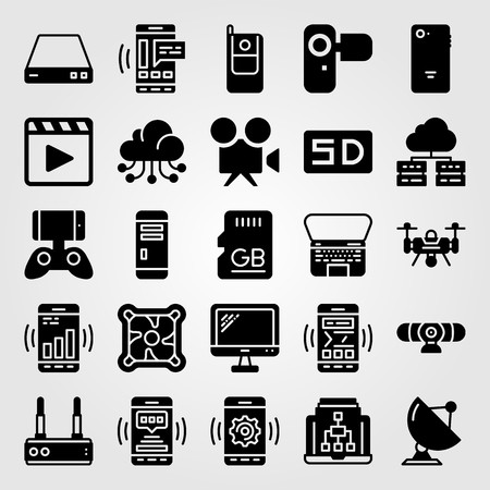 Technology vector icon set includes radar, pc case, phone and sd card.