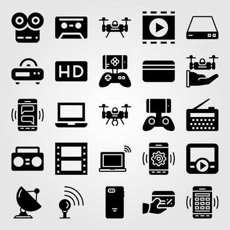 Technology vector icon set includes radio, laptop, drone and credit card.