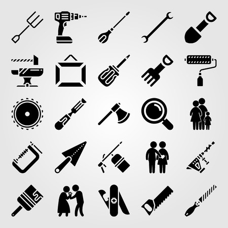 Tools icon set vector. Man, brush, chisel and fork.