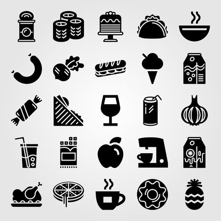 Food And Drinks vector icon set includes sandwich, coffee cup, juice and soda.