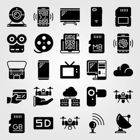 Technology vector icon set. radar, monitor, camera and tv
