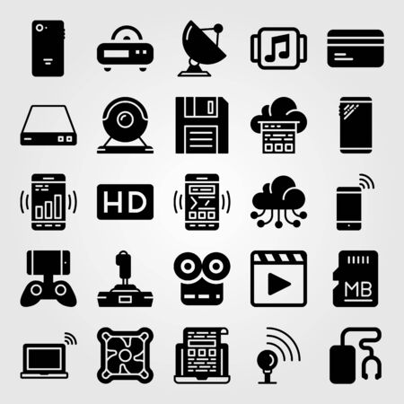 Technology icon set vector movie player, game controller, laptop and cooler.