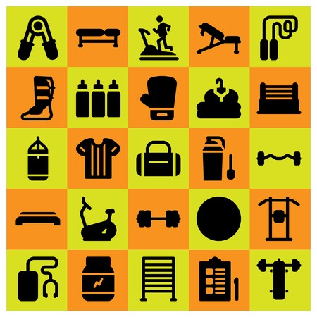 Fitness icon set vector includes treadmill, stationary bike, biceps dumbbell and pull up bar. Illustration
