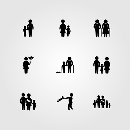 Humans icon set vector includes mother, grandfather, elderly and grandson.