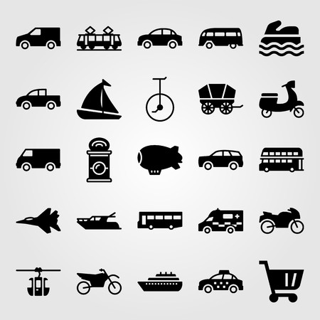 Transport vector icon set. Cart, tram, ambulance and yacht.