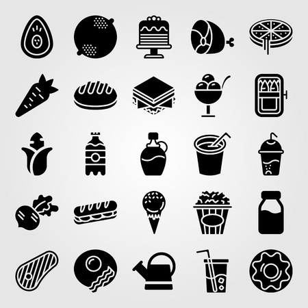 Food and drinks icon set vector. Carrot, sardines, soft drink and sandwich. Çizim