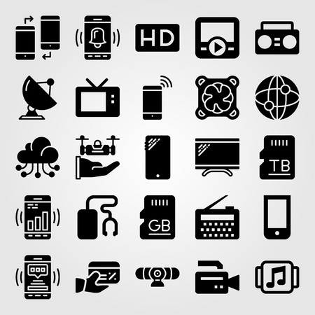 Technology vector icon set. Television, memory, radio and credit card. Illustration