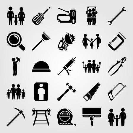 Tools icon set vector. Family, tape, handsaw and loupe. Çizim