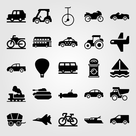 Transport vector icon set. Unicycle, bus, air balloon and van. Vettoriali