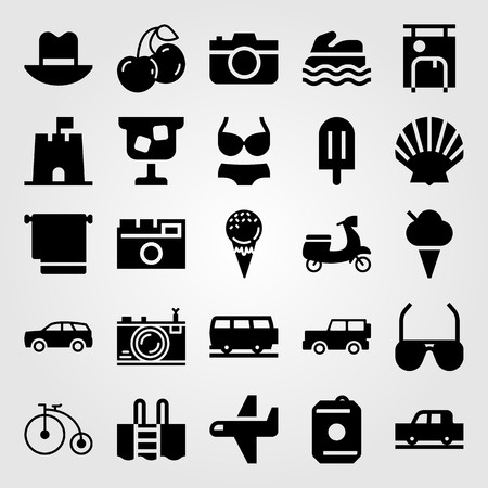 Summertime vector icon set includes motorbike, jeep, sunglasses and drink.