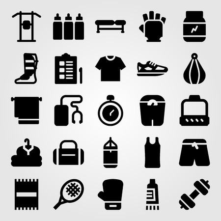 Fitness vector icon set. Scale, boxing glove, glove and punching.