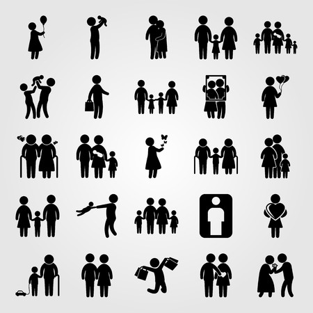 Humans icon set vector. father with baby, frame, dad and couple in love Çizim