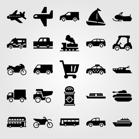 Transport vector icon set includes double decker bus, ship, snowmobile and lorry. Vettoriali