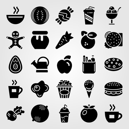 Food And Drinks vector icon set. watering can, coffee cup, candy and soft drink
