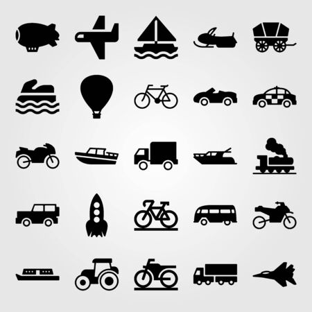 Transport vector icon set. Airplane, bus, truck and sea scooter.