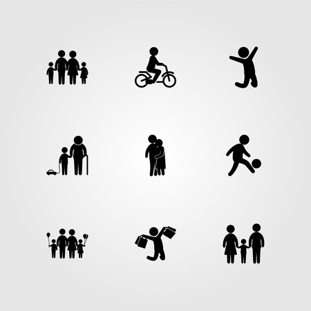 Humans icon set vector. child, football player, people hugging and jumping man