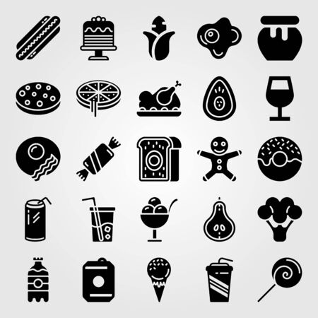 Food and drinks vector icon set. Avocado, cookie, hot dog and meat.