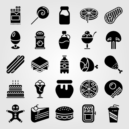Food And Drinks icon set vector. steak, cake, ginger bread man and piece of cake Illustration