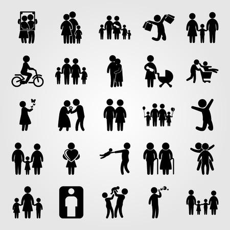 Wektor zestaw ikon ludzi. Przytulanie ludzi, chłopiec, dzieci i dziewczynka. Ilustracje wektorowe