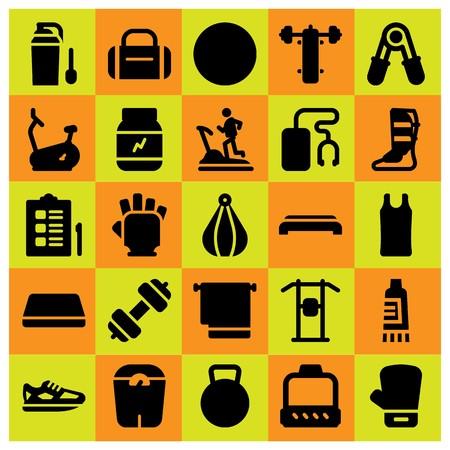 Fitness pictogrammenset vector. Boksbal, waterkoker bell, gym mat en handschoenen.