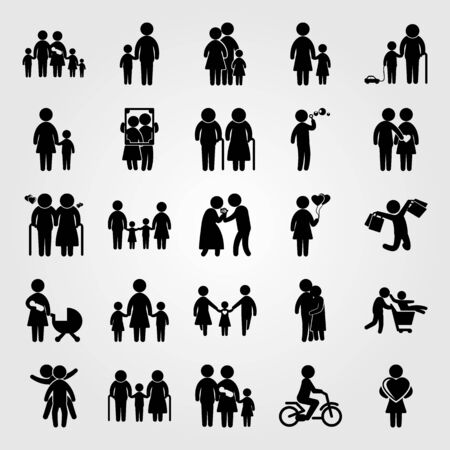 Humans icon set vector. Portrait, two children playing, child playing and people hugging. Çizim