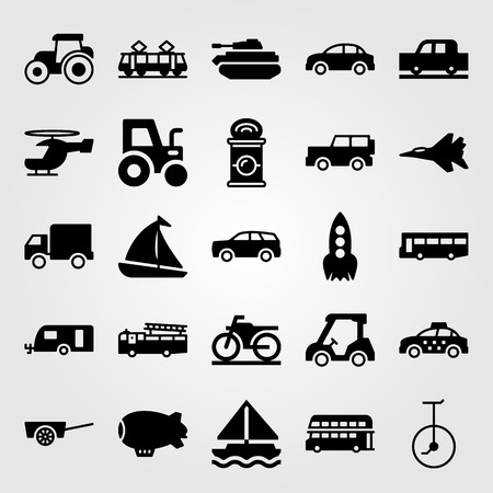 Transport vector icon set. Taxi, motorbike, tram and car.