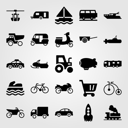 Transport vector icon set. Dumper, bicycle, tuk tuk and motorcycle.