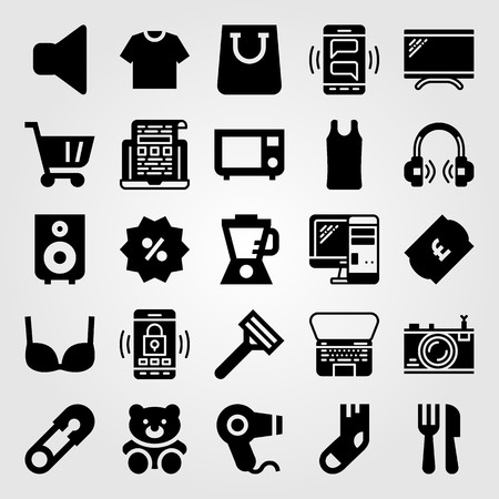 Shopping vector icon set. Percentage, microwave oven, speaker and laptop.