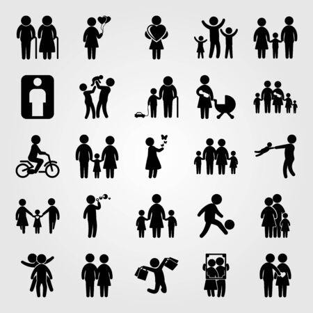 Mensen icon set omvat kinderen, dochter, grootvader en frame.
