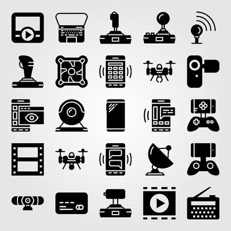 Technology icon set includes camera, sattelite, film roll and signal point.