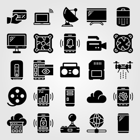 Technology icon set includes laptop, cell phone, cloud computing and cooler. Illustration